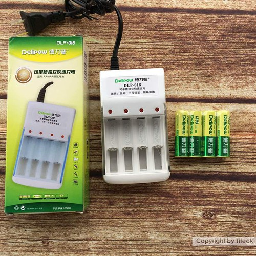Combo sạc đa năng 4 pin và tặng kèm 4 pin AA Delipow 1300mAh