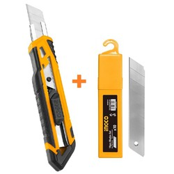 Bộ dao rọc giấy và hộp 10 lưỡi dao INGCO HKNS16518 HKNSB181