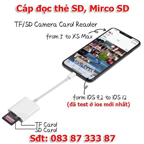 Cáp đọc thẻ nhớ sd và micro Sd cho lphone