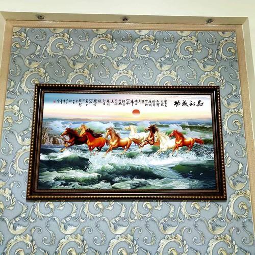 Tranh Ngựa Mã đáo thành công KÈM KHUNG-Kích thước lớn 68cmx88cm