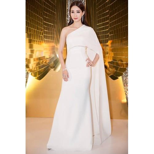 Đầm dạ hội kiểu lệch vai choàng dài sang trọng