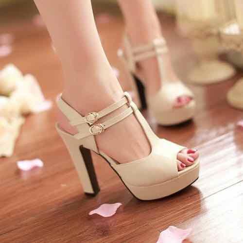 sandal cao gót 2 quai cài