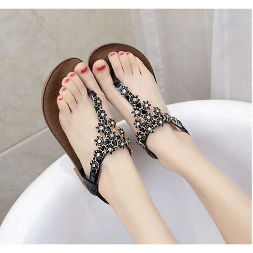 Giày sandal nữ đế bệt đính đá