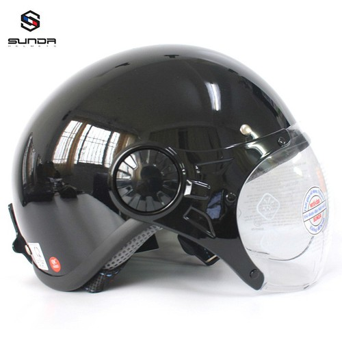 Mũ bảo hiểm - Nón bảo hiểm - Nón bảo hiểm SUNDA - Mũ bảo hiểm nửa đầu có kính Sunda 136B mẫu mới màu đen bóng