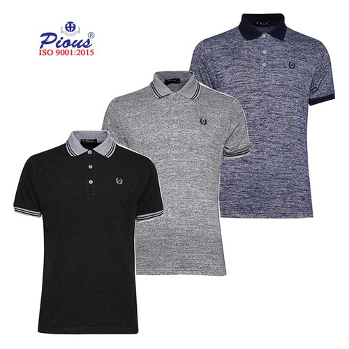 Bộ 3 áo thun nam cotton 4 chiều phối bo Pious CB302 xamtdenxamddom