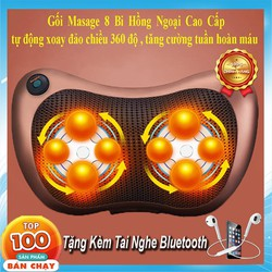 Gối Massage Hồng Ngoại 8 Bi 2 Chiều - Tặng Tai Nghe Bluetooth