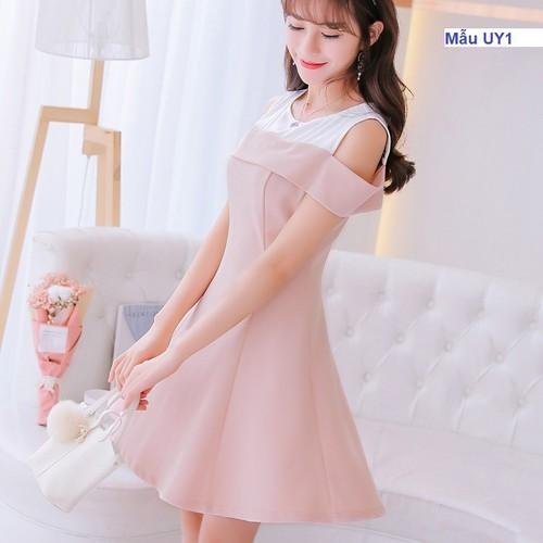Váy xòe hở vai màu hồng