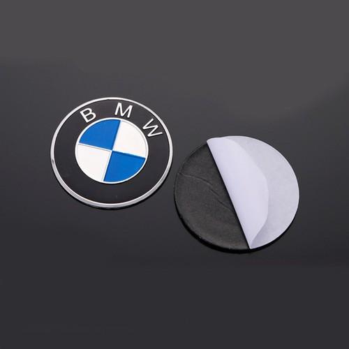 Bộ 2 Logo Tròn BMW2 nhôm kim loại Dán keo