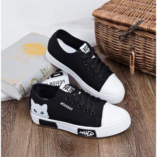 Giày sneaker nữ cổ thấp Mèo xinh siêu hot