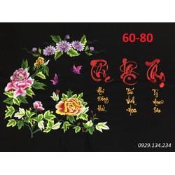 Tranh thêu Phúc Lộc Thọ thêu vi tính thành phẩm 60x80cm