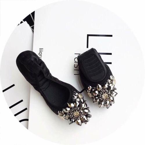 Giày bệt hoa đá chun mềm - giày lười nữ slip on, giày lười vải nữ, giày lười nữ hàn quốc, giày mọi nữ, giày búp bê mũi nhọn, giày nữ đẹp, giày nữ giá rẻ, giày nữ đen