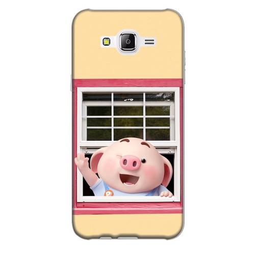 Ốp lưng nhựa dẻo dành cho Samsung Galaxy J7 in hình Heo Con Chào Ngày Mới