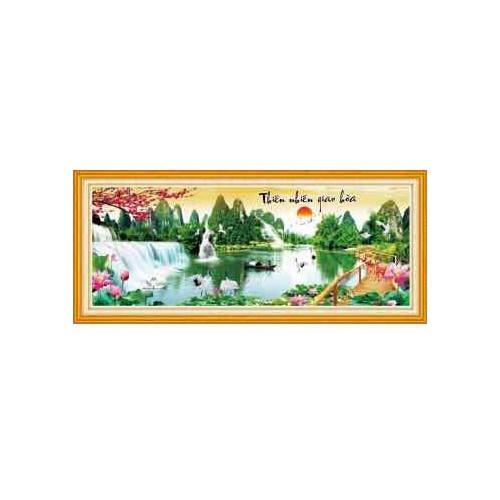 tranh thêu phong cảnh rừng hoa tím đẹp 195x84cm