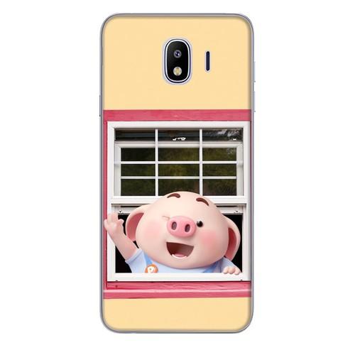 Ốp lưng nhựa dẻo dành cho Samsung Galaxy J4 2018 in hình Heo Con Chào Ngày Mới