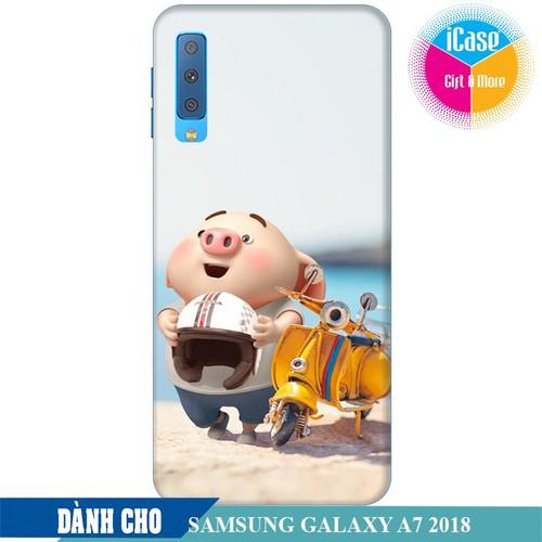 Ốp lưng nhựa cứng nhám dành cho Samsung Galaxy A7 2018 in hình Heo Con Đi Phượt