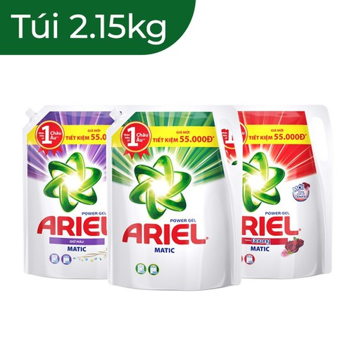Nước giặt Ariel dạng túi 2,15kg _3 loại