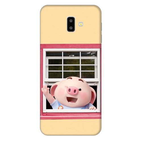 Ốp lưng nhựa dẻo dành cho Samsung GalaxyJ6 Plus in hình Heo Con Chào Ngày Mới