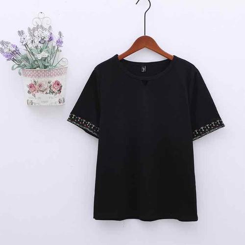 áo thun nữ big size màu đen tay thêu size lớn 80-90kg