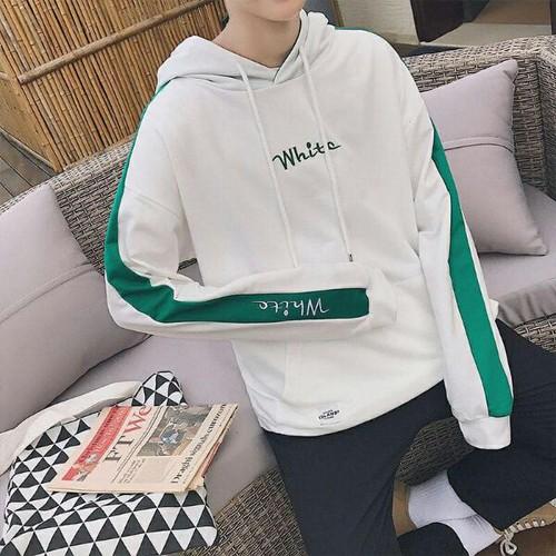 Áo hoodie nam chữ white