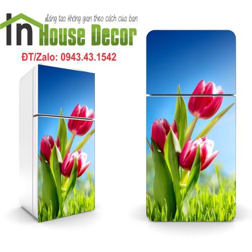 Tranh trang trí tủ lạnh   Giấy dán tủ lạnh 3d Tuylip xanh