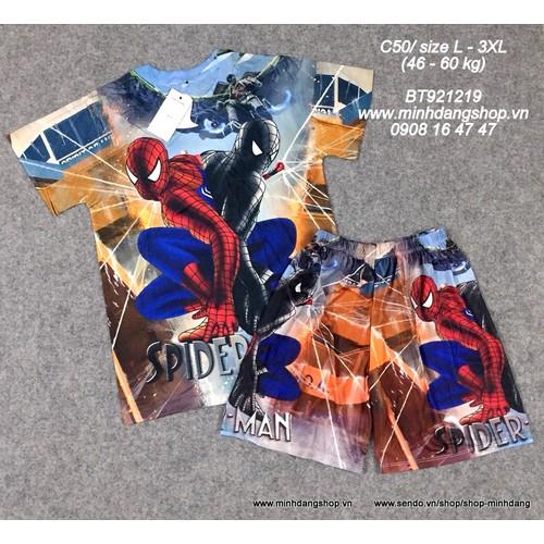 Bộ thun lạnh 3D Spiderman từ 46- 60 kg