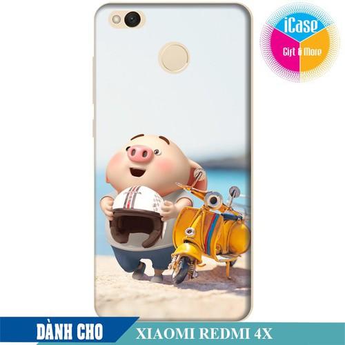 Ốp lưng nhựa cứng nhám dành cho Xiaomi Redmi 4X in hình Heo Con Đi Phượt