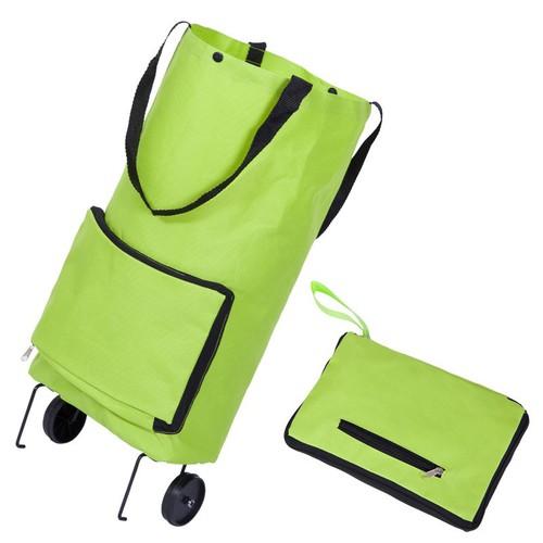 Xe kéo đi chợ dạng túi dài có bánh xe với thiết kế tiện lợi, giỏ chứa đồ rộng rãi dễ dàng di chuyển
