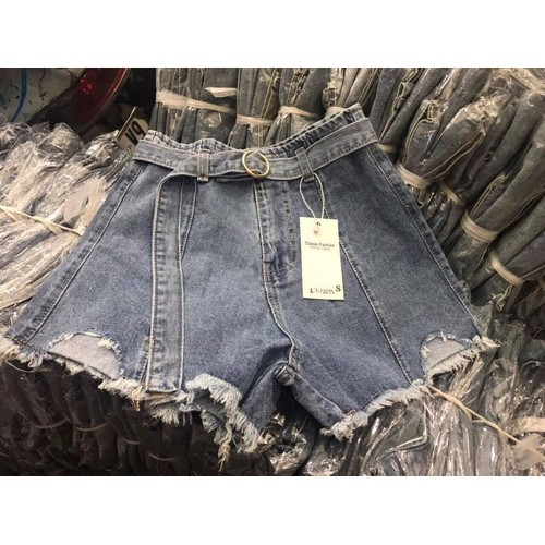 Quần short jean phối belt