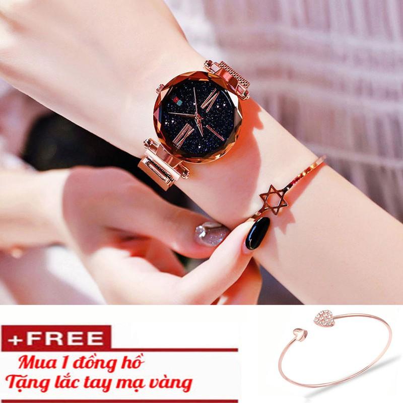Đồng hồ nữ mặt kính 3D  tặng vòng  tay cao cấp 1