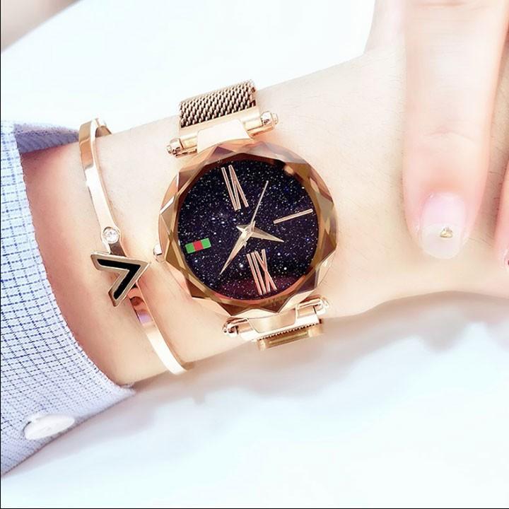 Đồng hồ nữ mặt kính 3D  tặng vòng  tay cao cấp 7
