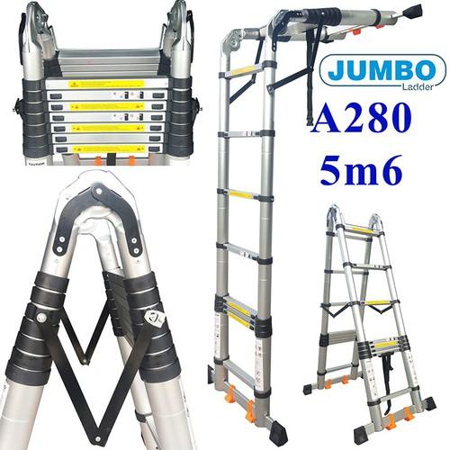 Thang nhôm rút chữ A cao cấp Jumbo A280 - 5.6M