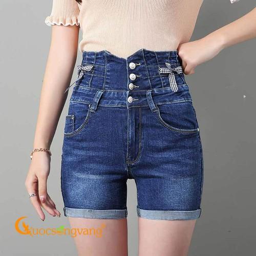 Quần short lưng cao màu xanh đậm quần short jean bốn nút GLQ105