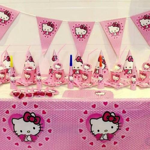 Bộ phụ kiện để bàn chủ đề MÈO kitty trang trí bàn tiệc cho bé