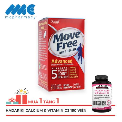 [MUA 1 TẶNG 1] Schiff Move Free Joint Health Advanced Glucosamine + Chondroitin bổ khớp, hỗ trợ xương khớp - Chai 200 viên