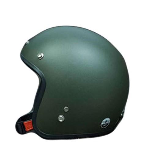 Nón bảo hiểm 3-4 đầu dành cho phượt thủ xanh lính- Đen nhám-trắng