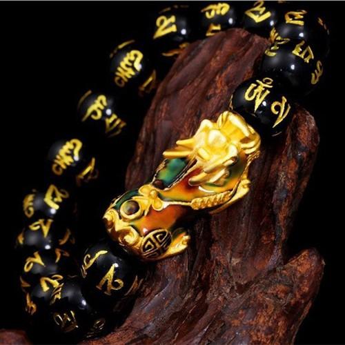 NHẬP MÃ SALESN giảm 10k  - Vòng tay đá khắc chú mix tỳ hưu đổi màu cực đẹp - Bình an - tài lộc - may mắn