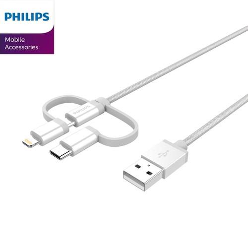 Cáp sạc Micro USB Philips DLC4540VS tích hợp đầu chuyển đổi Linghtning và USB-C