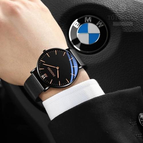 Đồng hồ nam CHÍNH HÃNG DIZIZID mặt siêu mỏng dây Titanium cao cấp TẶNG vòng tỳ hưu thạch anh đen