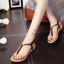 Giày sandal nữ đế bệt đính cườm phong cách Hàn Quốc  NA61 _Hàng Nhập