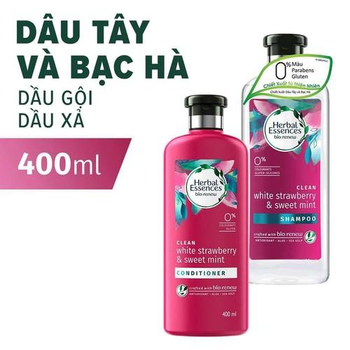 Bộ Gội Xả Herbal Essences Dâu Tây & Bạc Hà Chai 400ML