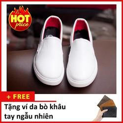 Giày Slip On Nam Aroti Đế Khâu Chắc Chắn Phong Cách Đơn Giản Màu Trắng - M498-TRANG-020319