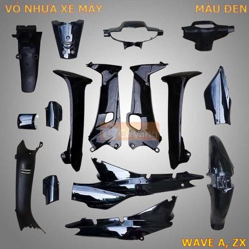 Vỏ nhựa xe máy Wave A, ZX màu ĐEN chất lượng như ZIN chính hãng
