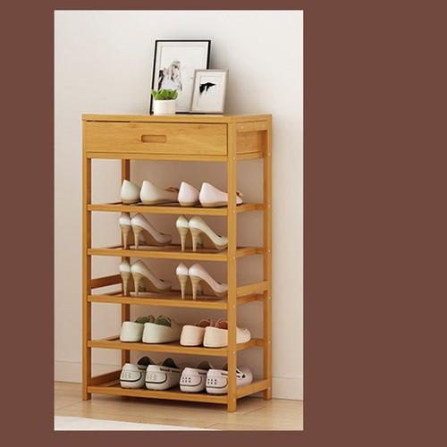 Kệ để giầy | giá để giày 5 tầng bằng tre có 1 ngăn kéo 50x25x88cm