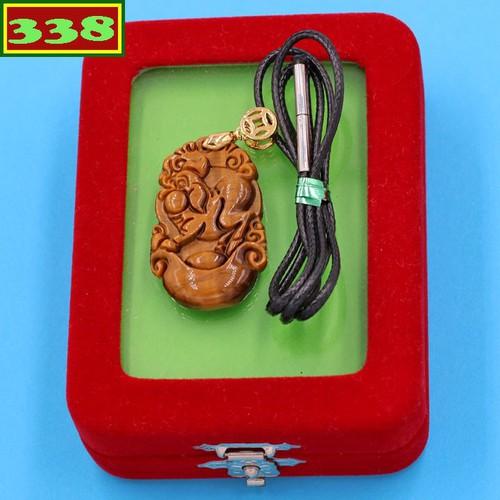 Vòng cổ phong thủy khắc linh vật tuổi Hợi đá mắt hổ DEMHCG6 kèm hộp nhung