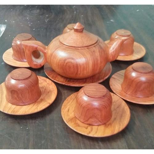 Bộ ấm chén - Bộ ấm chén gỗ hương nguyên khối