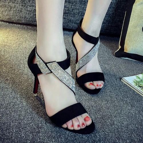 giày cao gót đan chéo đá cao cấp