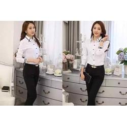 áo sơ mi trắng tay dài viền đen big size 65-75kg