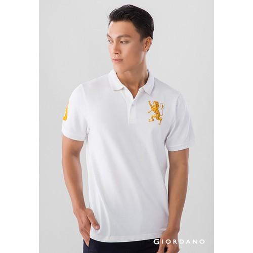 Áo Thun Nam Ngắn Tay Có Cổ Giordano Polo Màu Trắng Logo Sư Tử Vàng