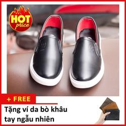 Giày Slip On Nam Aroti Đế Khâu Chắc Chắn Phong Cách Đơn Giản Màu Đen - M498-DEN-020319