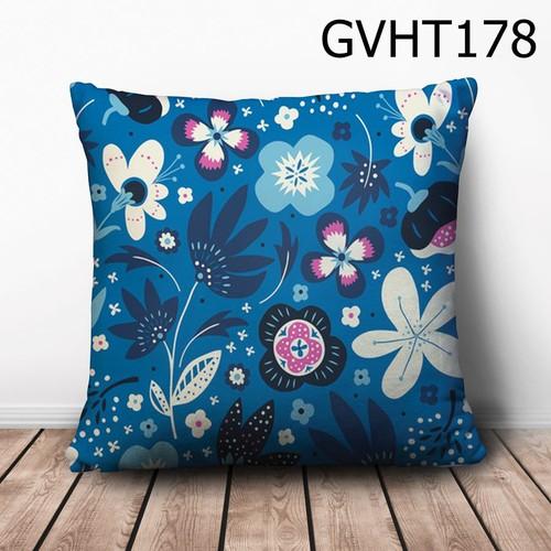 Gối vuông hình hoa lá GVHT618
